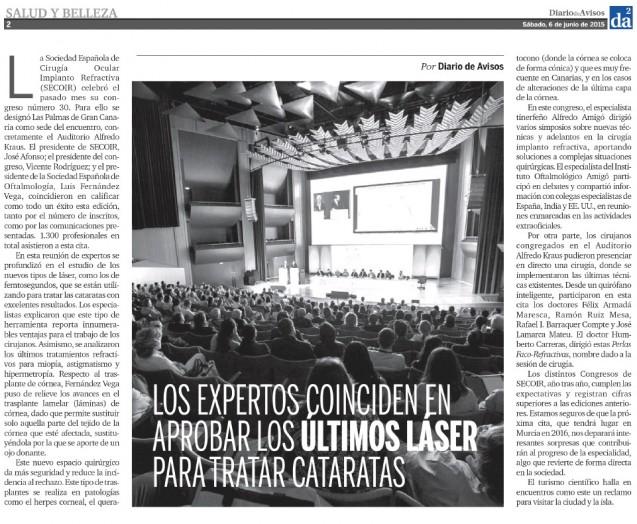 Diario de Avisos se hace eco del 30 Congreso de la SECOIR