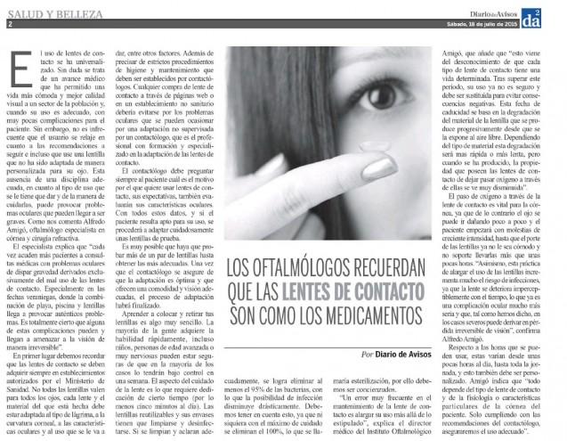 El riesgo del uso inadecuado de las lentillas, en Diario de Avisos